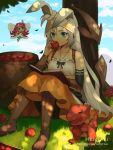 2girls :d animal animal_ears artist_name bare_shoulders black_sleeves blue_eyes blue_sky blush book boots bow_(weapon) breasts brown_footwear character_request clouds cloudy_sky collarbone commentary day detached_sleeves dragalia_lost dragon eating english_commentary fairy fairy_wings fingernails food grass hand_up hentaki highres holding holding_food knee_boots long_hair long_sleeves minigirl multiple_girls mushroom on_grass on_ground open_book open_mouth orange_skirt outdoors rabbit_ears reading redhead round_teeth sitting skirt sky small_breasts smile teeth tree_shade upper_teeth very_long_hair watermark weapon web_address white_hair wings
