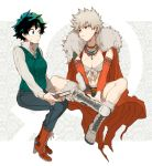 2girls bakugou_katsuki bandeau black_pants blue_shorts boku_no_hero_academia book boots breasts cape cleavage closed_mouth collared_shirt cutoffs denim denim_shorts detached_sleeves dress_shirt front-tie_top fur-trimmed_cape fur-trimmed_footwear fur_trim genderswap genderswap_(mtf) green_eyes green_hair green_vest grey_hair high_heel_boots high_heels holding holding_book indian_style invisible_chair jewelry long_sleeves looking_at_another maneki-neko_(fujifuji) medium_breasts midoriya_izuku multiple_girls necklace pants popped_collar red_cape red_eyes red_footwear shirt short_hair short_shorts shorts sitting spiky_hair sweatdrop v_arms venus_symbol vest