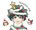 1girl 2boys blue_eyes boku_no_hero_academia brown_hair christmas christmas_ornaments fake_antlers freckles green_eyes green_hair grey_eyes hat heterochromia midoriya_izuku multicolored_hair multiple_boys nightcat redhead santa_hat star todoroki_shouto two-tone_hair uraraka_ochako white_hair