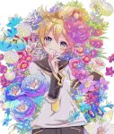 1boy bangs blonde_hair blush chrysanthemum colorful commentary detached_sleeves finger_to_mouth flower flower_request green_eyes hekicha highres holding holding_flower kagamine_len lily_(flower) looking_at_viewer lying male_focus on_back peony_(flower) petals poppy_(flower) sailor_collar shirt short_hair short_sleeves smile solo upper_body vocaloid white_shirt