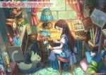 1girl apron artist_name basket blue_dress book bookshelf bow bracelet braid brown_hair buttons carpet cat chair clock copyright_name dated desk dress easel flower french_braid green_eyes hair_bow holding infoors jar jewelry lamp long_hair looking_down looking_to_the_side open_mouth original painting_(object) pippi_(pixiv_1922055) sitting smile solo striped striped_dress stuffed_animal stuffed_bird stuffed_cat stuffed_mouse stuffed_toy vial window wooden_floor yarn yarn_ball