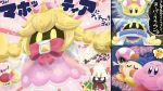2boys 2girls bandana_waddle_dee beret bow comic cosplay crossover disembodied_limb dress hat highres kirby kirby_(series) magolor mario_(series) multiple_boys multiple_girls new_super_mario_bros._u_deluxe nintendo peachette peachette_(cosplay) pink_bow pink_dress sparkle super_crown suyabi_(subikabi1426zoy) taranza thinking_emoji toadette translation_request vividria wig yellow_eyes