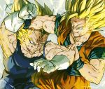 2boys battle blonde_hair blood blood_on_face clenched_hands dirty dirty_clothes dirty_face dragon_ball dragonball_z electricity fighting fighting_stance fingernails frown gloves green_eyes grey_background grin looking_at_another majin_vegeta male_focus multiple_boys reeya short_hair signature simple_background smile son_gokuu spiky_hair super_saiyan super_saiyan_2 vegeta veins white_gloves