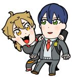 2boys :3 ahoge bandage bandaged_hands bandages bangs bkub blazer blue_hair blush blush_stickers brown_footwear brown_hair collared_shirt dot_nose earrings eyebrows_visible_through_hair fang full_body fushimi_gaku grey_jacket grey_pants hair_between_eyes hands_on_another's_shoulders jacket jewelry kenmochi_touya male_focus multiple_boys necktie nijisanji open_blazer open_clothes open_jacket open_mouth orange_eyes pants red_footwear red_neckwear ring school_uniform shirt shoes short_hair simple_background smile socks sweater_vest virtual_youtuber white_background white_legwear white_shirt wing_collar