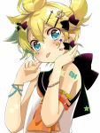 1boy armband ascot bangs bare_arms bare_shoulders bass_clef black_bow blonde_hair blue_eyes blush bow bracelet collared_shirt commentary cross_hair_ornament crown_hair_ornament facial_tattoo finger_to_cheek from_below hair_bow hair_ornament hairclip hands_up heart hekicha highres jewelry kagamine_len looking_at_viewer male_focus no_detached_sleeves orange_neckwear ponytail shirt short_hair shoulder_tattoo solo star tattoo tehepero tongue tongue_out upper_body vocaloid white_background
