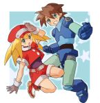 1boy 1girl belt blonde_hair bodysuit breasts brown_gloves brown_hair cabbie_hat commentary_request gloves green_eyes hamagurihime hat jacket long_hair looking_at_viewer open_mouth red_hat red_shorts rock_volnutt rockman rockman_dash roll_caskett shorts small_breasts smile star