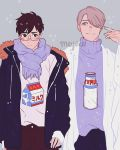 2boys artist_name black_eyes black_hair black_pants blush bottle brown_pants carton cowboy_shot fur_trim glasses grey_background grey_eyes grey_hair hair_over_one_eye highres jacket katsuki_yuuri long_sleeves male_focus meyoco milk milk_bottle milk_carton multiple_boys open_clothes open_jacket pants print_shirt print_sweater purple_scarf scarf shirt shirt_tucked_in short_hair simple_background smile sweater turtleneck turtleneck_sweater viktor_nikiforov yuri!!!_on_ice