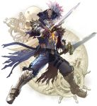 1boy absurdres armor belt cervantes_de_leon chains facial_hair grey_skin hat highres holding holding_sword holding_weapon kawano_takuji legs_apart looking_at_viewer male_focus mustache official_art shirt simple_background skull soulcalibur_vi sword torn_clothes weapon white_background