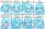 1girl angry blue_hair blue_sclera blue_skin blush commentary embarrassed english_commentary expressionless expressions eyelashes face forehead full-face_blush ghost highres lichy_(nat_the_lich) lips medium_hair nat_the_lich no_pupils nose original sad smile solo