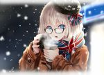 1girl black-framed_eyewear black_hat blue_eyes blue_ribbon blue_scarf blurry blurry_background border brown_coat coat cup depth_of_field disposable_cup duffel_coat enpera fading_border glasses hair_ribbon hat holding holding_cup long_sleeves looking_at_viewer nabeshima_tetsuhiro night open_mouth original outdoors ribbon scarf sidelocks silver_hair snowing solo standing steam union_jack upper_body winter winter_clothes