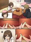 2girls barefoot brown_hair cellphone comic commentary_request cup eyebrows_visible_through_hair feet gojarun green_eyes highres holding holding_cellphone holding_phone idolmaster idolmaster_cinderella_girls indoors kotatsu long_sleeves maekawa_miku multiple_girls phone short_hair sitting socks table tada_riina under_kotatsu under_table wavy_mouth white_legwear