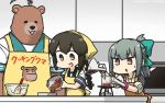 2girls ahoge animalization apron bandanna beaker bear black_eyes black_hair blue_sailor_collar bow bowl braid brown_eyes bunsen_burner chocolate dated erlenmeyer_flask grey_hair hair_between_eyes hair_bow hamu_koutarou highres huge_ahoge isonami_(kantai_collection) kantai_collection kuma_(kantai_collection) multiple_girls orange_apron parody ponytail sailor_collar school_uniform serafuku short_sleeves sidelocks standing test_tube twin_braids upper_body yellow_apron yuubari_(kantai_collection)