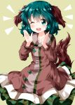 1girl animal_ears bangs blush brown_dress collarbone commentary_request cowboy_shot dress eyebrows_visible_through_hair green_background green_eyes green_hair hair_between_eyes hands_up highres kasodani_kyouko long_sleeves looking_at_viewer one_eye_closed open_mouth petticoat ruu_(tksymkw) short_hair simple_background smile solo tail touhou