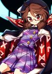 1girl absurdres baba_(baba_seimaijo) bolo_tie bow brown_hair cape commentary_request fedora glasses hat hat_bow highres kneehighs kneeling long_sleeves looking_at_viewer low_twintails plaid plaid_skirt plaid_vest purple_skirt purple_vest red-framed_eyewear red_eyes semi-rimless_eyewear shirt skirt smile solo touhou twintails under-rim_eyewear usami_sumireko vest white_bow white_legwear white_shirt
