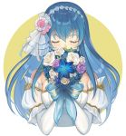 1girl bare_shoulders blue_eyes blue_hair bouquet bride cute dress elbow_gloves fire_emblem fire_emblem:_monshou_no_nazo fire_emblem_heroes flower formal gloves intelligent_systems kyufe long_hair nintendo rose sheeda simple_background solo strapless strapless_dress tiara veil wedding wedding_dress white_dress white_flower white_gloves