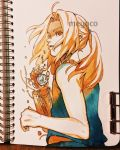 1boy artist_name automail blonde_hair broken edward_elric from_below from_side fullmetal_alchemist highres long_hair male_focus mechanical_arm meyoco parted_lips photo pocket_watch ponytail profile prosthesis simple_background sleeveless solo traditional_media upper_body watch white_background yellow_eyes