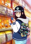 1girl 49s-aragon akuma_shogun backpack bag baseball_cap black_hair black_hole_(kinnikuman) cowboy_shot denim from_side glasses hat holding holding_toy hood hood_down hooded_jacket indoors jacket jeans kinnikuman long_hair long_sleeves looking_at_viewer open_mouth original pants print_backpack smile solo springman_(kinnikuman) standing stecase_king toy