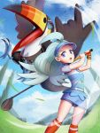 1girl ahoge bird blue_eyes blue_shirt blue_sky clouds creatures_(company) day game_freak gen_7_pokemon gloves golf_club gonzarez kahili_(pokemon) kneehighs light_blue_hair long_hair looking_at_viewer mole motion_blur nintendo orange_legwear outdoors pokemon pokemon_(game) pokemon_sm red_gloves red_legwear shirt shorts shorts_under_skirt single_glove skirt sky standing toucannon visor_cap