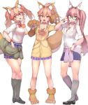 3girls alternate_costume animal_ear_fluff animal_ears bell bell_collar blush bow breasts cat_paws cleavage clothes_around_waist collar eyebrows_visible_through_hair fangs fate/extella fate/extra fate/grand_order fate_(series) fox_ears fox_girl fox_tail full_body glasses gloves hair_bow highres jacket_around_waist jingle_bell large_breasts long_hair looking_at_viewer multiple_girls paw_gloves paw_shoes paws pink_hair school_uniform shirt shoes sikijou77o simple_background skirt smile tail tamamo_(assassin)_(fate) tamamo_(fate)_(all) tamamo_cat_(fate) tamamo_jk_(fate) tamamo_no_mae_(fate) twintails unbuttoned white_background yellow_eyes