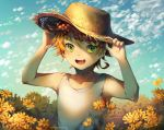 1girl :d adjusting_clothes adjusting_hat artist_name blue_sky clouds day emma_(yakusoku_no_neverland) field flower flower_field green_eyes hands_up hat highres kkotto looking_at_viewer neck_tattoo open_mouth orange_hair outdoors shirt short_hair sky sleeveless sleeveless_shirt smile solo straw_hat sun_hat tattoo watermark white_shirt yakusoku_no_neverland