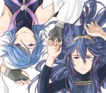 2girls aqua_(kingdom_hearts) blue_eyes blue_hair closed_mouth crossover eyebrows_visible_through_hair fingerless_gloves fire_emblem fire_emblem:_kakusei gloves hair_between_eyes hair_ornament hand_holding holding interlocked_fingers kimkun06 kingdom_hearts kingdom_hearts_birth_by_sleep long_hair looking_at_viewer lucina multiple_girls nintendo open_eyes ribbed_sweater short_hair simple_background sweater tiara turtleneck turtleneck_sweater twitter_username watermark white_background