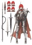 1girl :d angry armor armored_boots asymmetrical_clothes belt belt_pouch boots cape character_sheet fantasy full_body gauntlets hair_ornament hairclip highres jun_(seojh1029) leather looking_to_the_side open_mouth original over_shoulder plate_armor polearm pouch red_eyes redhead scabbard serious sheath shield short_hair shoulder_armor smile solo spear surprised sword sword_over_shoulder weapon weapon_over_shoulder white_background worried
