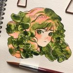 1girl artist_name bangs brush disembodied_head green_hair leaf looking_at_viewer medium_hair meyoco multicolored_hair original photo pink_hair plant portrait solo traditional_media
