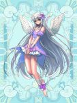 1girl barefoot blue_background detached_sleeves dress ellis_canary feathered_wings flower full_body green_eyes hair_flower hair_ornament hair_ribbon hands_together kerberos_blade kishiba_yuusuke long_hair looking_at_viewer pink_dress pink_flower ribbon short_sleeves sidelocks silver_hair solo very_long_hair white_wings wings wrist_wrap