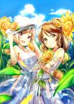 2girls :d aiba_yumi blonde_hair blue_sky blush brown_hair clouds collarbone day dress floating_hair flower hair_flower hair_ornament hat hat_flower head_tilt highres holding holding_flower holding_hat idolmaster idolmaster_cinderella_girls long_hair looking_at_viewer multiple_girls open_mouth outdoors red_eyes shiitake_taishi short_hair sky sleeveless sleeveless_dress smile standing sundress sunflower takamori_aiko white_dress white_flower white_hat yellow_eyes yellow_flower