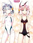 2girls android animal_ears black_flower black_rose black_swimsuit blue_eyes breasts casual_one-piece_swimsuit cat_ears clarion competition_swimsuit copyright_name flower hair_ornament highres hitotose_rin koukaku_no_pandora lace multiple_girls one-piece_swimsuit phobos_(koukaku_no_pandora) pink_eyes pink_hair robot_joints rose small_breasts smile sparkle_background swimsuit white_hair white_swimsuit
