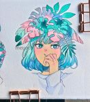 1girl aqua_eyes aqua_hair artist_name covered_mouth covering_mouth hand_over_own_mouth hand_up highres leaf leaf_on_head long_sleeves looking_at_viewer meyoco original photo portrait shirt solo traditional_media white_shirt