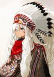 1girl blue_eyes commentary_request dark_skin facepaint feathers hair_over_one_eye headdress headwear long_hair miruto_netsuki native_american native_american_headdress original simple_background solo white_hair