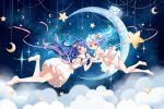 2girls :d :o bangs bare_legs bare_shoulders barefoot bili_girl_22 bili_girl_33 bilibili_douga blue_hair blush clouble clouds commentary_request crescent dress eyebrows_visible_through_hair hair_between_eyes hand_holding highres interlocked_fingers long_hair multiple_girls open_mouth parted_lips pink_ribbon puffy_short_sleeves puffy_sleeves red_eyes ribbon short_sleeves smile soles star very_long_hair white_dress