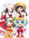 4girls :d ;d absurdres black_hair blue_hair blush braid brown_hair coat coat_dress collarbone creatures_(company) crystal_(pokemon) floral_print game_freak gloves green_bandana grey_eyes haruka_(pokemon) hat highres hikari_(pokemon) jacket leg_up locked_arms long_hair long_sleeves looking_at_viewer mizuki_(pokemon) multiple_girls nintendo one_eye_closed open_clothes open_jacket open_mouth orange_jacket orange_shirt pink_footwear pokemon red_coat red_sweater scarf shirt sleeveless sleeveless_jacket sleeveless_shirt smile sun_hat sweater twin_braids twintails w white_background white_hat white_jacket white_scarf wristband yellow_bandana yellow_hat yuihiko