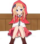 1girl :o abigail_williams_(fate/grand_order) atsumisu bangs bed_sheet black_bow blonde_hair blue_eyes blush boots bow brown_footwear capelet collared_shirt commentary_request cosplay covering covering_crotch cross-laced_footwear crossed_bandaids dress_shirt eyebrows_visible_through_hair fate/grand_order fate_(series) hair_bow highres hood hood_up hooded_capelet lace-up_boots little_red_riding_hood little_red_riding_hood_(grimm) little_red_riding_hood_(grimm)_(cosplay) long_hair looking_at_viewer orange_bow parted_bangs parted_lips polka_dot polka_dot_bow red_capelet red_skirt shirt simple_background sitting skirt solo white_background white_shirt