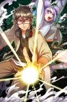 1boy 1girl absurdres black_skirt breasts brown_hair character_request coat commentary_request double_bun energy_ball fighting_stance glasses green_eyes hair_between_eyes hair_ribbon headphones headphones_around_neck highres lavender_hair looking_at_viewer open_mouth original overcoat red-framed_eyewear ribbon ryuusei_(mark_ii) serious shoes short_hair skirt small_breasts smoke sneakers socks violet_eyes