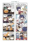 4koma 6+girls anchor_hair_ornament bamboo_shoot bangs bare_shoulders bismarck_(kantai_collection) black_hair black_ribbon blonde_hair blouse blue_eyes blue_hair blunt_bangs bowl braid brown_hair chopsticks comic commentary_request detached_sleeves double_bun food gloves hair_flaps hair_ornament hair_ribbon hairband hairclip hat highres holding holding_chopsticks kantai_collection katsudon_(food) kitakami_(kantai_collection) long_hair low_twintails multiple_4koma multiple_girls nontraditional_miko peaked_cap prinz_eugen_(kantai_collection) remodel_(kantai_collection) ribbon rice_bowl sailor_hat school_uniform seiran_(mousouchiku) serafuku short_hair short_sleeves single_braid tanikaze_(kantai_collection) translation_request twintails uniform urakaze_(kantai_collection) white_blouse white_gloves white_hairband white_hat wide_sleeves yamashiro_(kantai_collection) yuudachi_(kantai_collection)