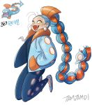 1girl artist_name blue_hair blue_jacket braid creatures_(company) earrings fangs full_body game_freak gen_3_pokemon hair_ornament hair_ribbon hands_in_pockets huntail jacket jewelry long_braid long_hair looking_at_viewer low-tied_long_hair moemon nintendo open_mouth orange_ribbon personification pokemon ribbon simple_background solo tamtamdi very_long_hair white_background