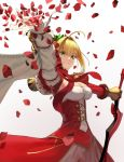 1girl aestus_estus ahoge blonde_hair breasts dress epaulettes fate/extra fate_(series) green_eyes highres holding holding_sword holding_weapon large_breasts nero_claudius_(fate) nero_claudius_(fate)_(all) petals rose_petals sword weapon zonotaida