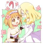 2girls bare_shoulders blonde_hair blush breasts brown_eyes cleavage collarbone dress elbow_gloves endro! eyebrows_visible_through_hair fai_fai flat_chest flower gloves hair_flower hair_ornament hairband long_hair medium_breasts multiple_girls open_mouth orange_hair rona_pricipa_o_rabanesta short_hair smile strapless strapless_dress white_dress white_frills white_gloves