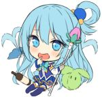 1girl :d aqua_(konosuba) bangs blue_eyes blue_footwear blue_hair blue_skirt blush boots bottle chibi commentary detached_sleeves english_commentary eyebrows_visible_through_hair fan folding_fan full_body hair_between_eyes hair_ornament hand_to_own_mouth hitsukuya holding holding_staff knee_boots kono_subarashii_sekai_ni_shukufuku_wo! long_hair long_sleeves looking_at_viewer open_mouth pleated_skirt purple_shirt see-through shirt simple_background skirt sleeveless sleeveless_shirt smile solo staff thigh-highs thighhighs_under_boots very_long_hair water white_background white_legwear white_sleeves