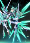 1girl aqua_eyes aqua_hair armor bangs black_background breasts commentary_request earrings gem glowing hair_ornament headpiece highres hinot jewelry large_breasts long_hair looking_at_viewer mechanical_wings neon_trim nintendo pneuma_(xenoblade_2) ponytail pose simple_background solo spoilers swept_bangs tiara very_long_hair wings xenoblade_(series) xenoblade_2