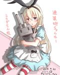 1girl alice_(wonderland) alice_(wonderland)_(cosplay) alice_in_wonderland alternate_costume animal_ears blonde_hair blush brown_eyes cosplay dated dress eyebrows_visible_through_hair fake_animal_ears giraffe_(ilconte) hair_between_eyes highres kantai_collection long_dress long_hair looking_at_viewer neck_ribbon open_mouth rabbit_ears rensouhou-chan ribbon shimakaze_(kantai_collection) sitting striped striped_legwear translation_request twitter_username