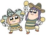 2girls :3 alternate_hair_color arm_up bangs bkub blue_eyes blue_hair blush blush_stickers brown_cloak brown_footwear brown_hat brown_pants cloak commentary dot_nose eyebrows_visible_through_hair gloves green_cloak green_hat hat holding holding_instrument instrument light_brown_hair long_hair maracas multiple_girls pants pipimi poncho poptepipic popuko shirt shoes short_hair sidelocks simple_background sleeves_folded_up sombrero two_side_up white_background white_gloves white_shirt yellow_eyes