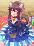 1girl :3 :d ahoge animal_ear_fluff animal_ears bangs bare_shoulders bell bell_collar blue_collar blue_dress blue_sleeves blurry blurry_background blush bow breasts brown_hair cat_ears cat_girl cat_tail cat_teaser cleavage collar collarbone commentary_request depth_of_field detached_sleeves dress eyebrows_visible_through_hair fangs fish_hair_ornament gloves hair_between_eyes hair_bow hair_ornament ittokyu jingle_bell long_hair long_sleeves medium_breasts open_mouth original paw_gloves paws purple_bow sidelocks signature sleeves_past_wrists smile solo star strapless strapless_dress tail tail_raised wooden_floor yarn yarn_ball