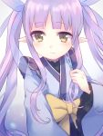 1girl bangs blue_kimono blush bow brown_eyes closed_mouth commentary_request eyebrows_visible_through_hair gucchiann hair_ribbon highres hikawa_kyoka japanese_clothes kimono long_sleeves pointy_ears princess_connect! princess_connect!_re:dive purple_hair purple_ribbon ribbon see-through sidelocks smile solo twintails upper_body wide_sleeves yellow_bow