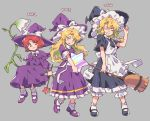 3girls akiyoku apron black_dress black_footwear blonde_hair broom closed_eyes dress frilled_dress frills grey_background hat holding holding_broom kirisame_marisa kirisame_marisa_(pc-98) long_hair long_sleeves multiple_girls multiple_persona parted_lips purple_dress purple_footwear purple_hat red_eyes redhead shoes short_hair short_sleeves simple_background socks star teeth touhou white_legwear witch_hat yellow_eyes
