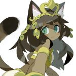 >:) 1girl animal_ear_fluff animal_ears bangs bastet_(p&d) brown_hair cat_ears cat_girl cat_tail closed_mouth commentary_request crop_top dark_skin ear_piercing egyptian egyptian_clothes green_eyes headpiece heart long_hair looking_at_viewer looking_to_the_side midriff paprika_shikiso piercing puzzle_&_dragons simple_background smile solo tail tail_raised v-shaped_eyebrows very_long_hair white_background