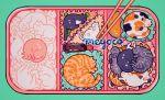 animal aqua_background artist_name black_cat bottle cat chopsticks closed_eyes food lying meyoco no_humans obentou orange_cat original peas pink_cat sauce sparkle tray white_cat