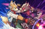 2boys animal boots ears eyepatch fighting fingerless_gloves firing fox fox_mccloud furry gloves green_eyes grin gun handgun holding holding_gun holding_weapon holster light multiple_boys nintendo no_humans pistol scarf scouter smile sora_(company) star_fox super_smash_bros. super_smash_bros._ultimate super_smash_bros_brawl tail torio_(mocd1985) weapon wolf wolf_o'donnell